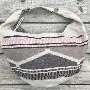 AEO Folk Woven Hobo Cream/Brn/Pink/Gry Cotton/Poly